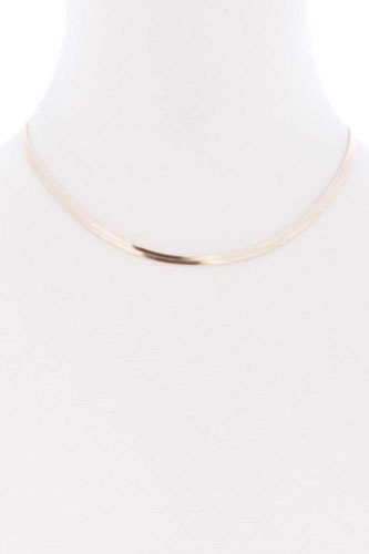 Herringbone chain metal short necklace-id.cc52363