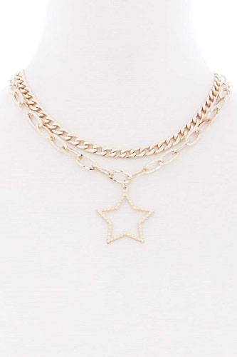 Chunky 2 layered chain star pendant metal necklace-id.cc52364