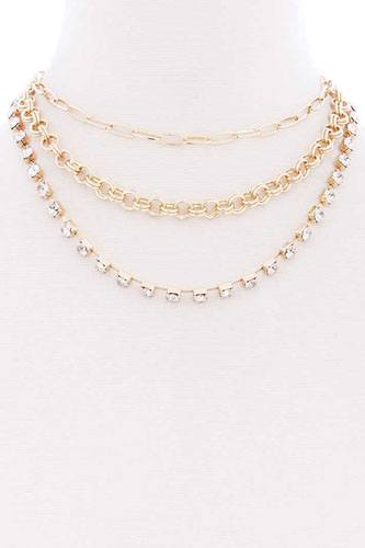 3 layered multi metal chain necklace-id.cc52365