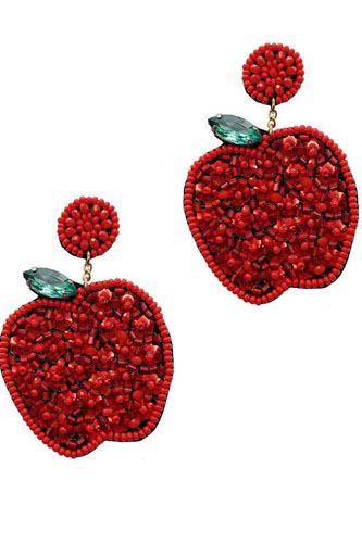 Fashion cute seed bead apple drop earring-id.cc52367