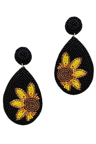 Trendy seed bead tear drop flower earring-id.cc52368