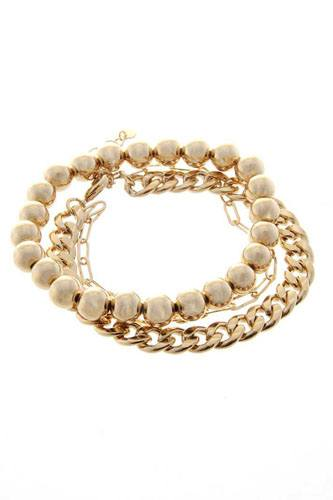 3 layered metal chain multi bracelet set-id.cc52375