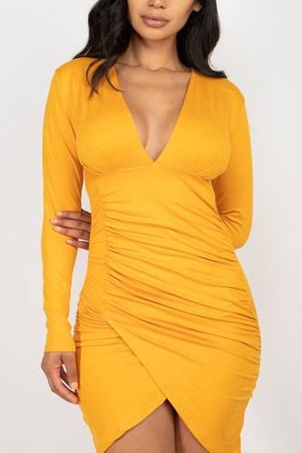 Ruched wrap bodycon dress-id.cc52379c
