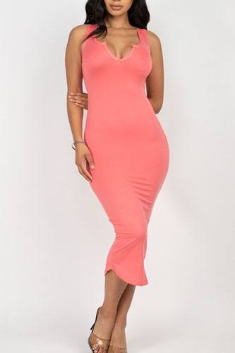 Split neck bodycon dress-id.cc52380d