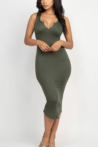 Split neck bodycon dress-id.cc52380e