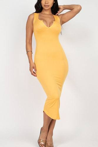 Split neck bodycon dress-id.cc52380h