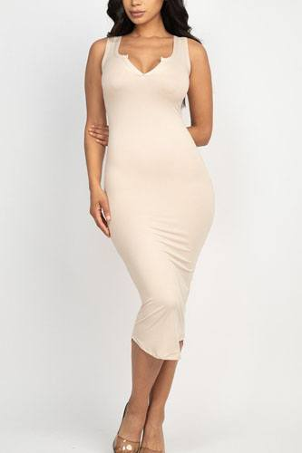 Split neck bodycon dress-id.cc52380i
