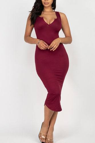 Split neck bodycon dress-id.cc52380j