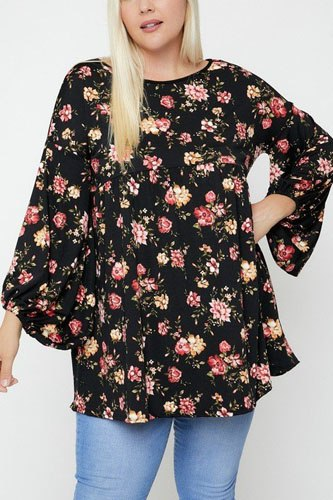Floral, bubble sleeve tunic-id.cc52382b