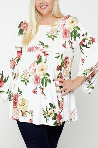 Floral, bubble sleeve tunic-id.cc52382e