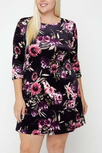 Velvet dress featuring a lovely floral print-id.cc52384