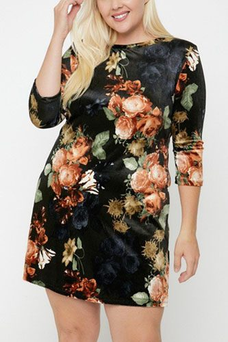 Velvet dress featuring a lovely floral print-id.cc52384a