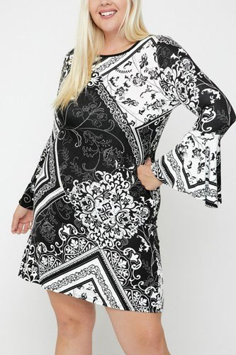 Bell sleeves print dress-id.cc52385b