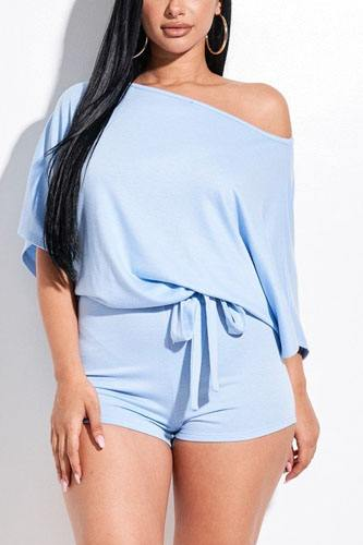 Solid french terry slouchy romper with tie waist-id.cc52390b
