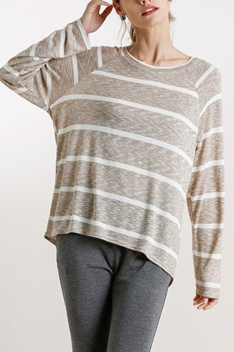 Striped round neck long sleeve top-id.cc52391a