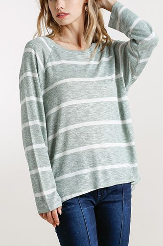 Striped round neck long sleeve top-id.cc52391b