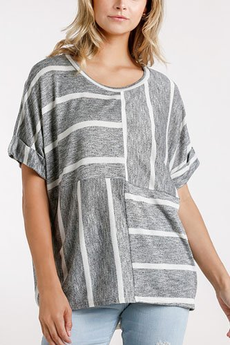 Horizontal and vertical striped short folded sleeve top with high low hem-id.cc52392