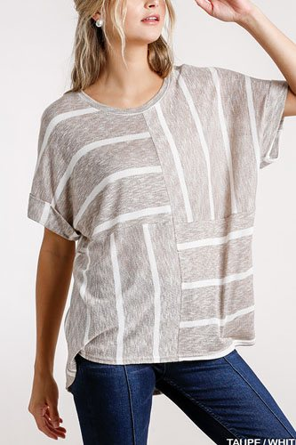 Horizontal and vertical striped short folded sleeve top with high low hem-id.cc52392a