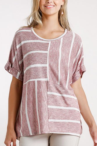 Horizontal and vertical striped short folded sleeve top with high low hem-id.cc52392b
