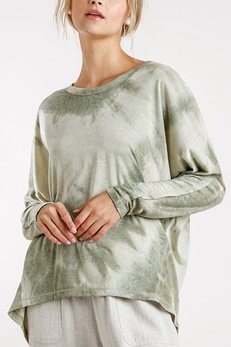 Tie-dye round neck long sleeve top with raw edged details-id.cc52393