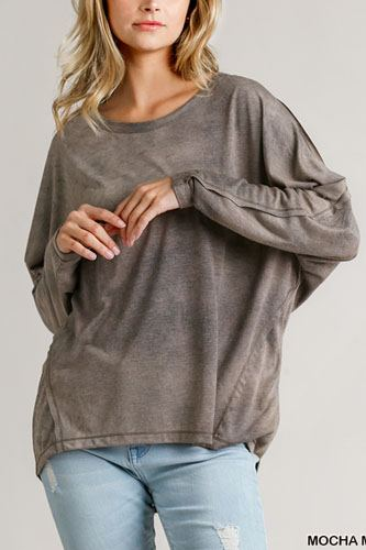 Tie-dye round neck long sleeve top with raw edged details-id.cc52393a