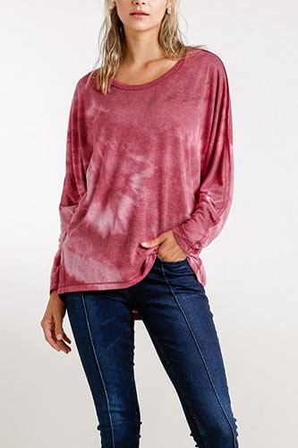 Tie-dye round neck long sleeve top with raw edged details-id.cc52393b