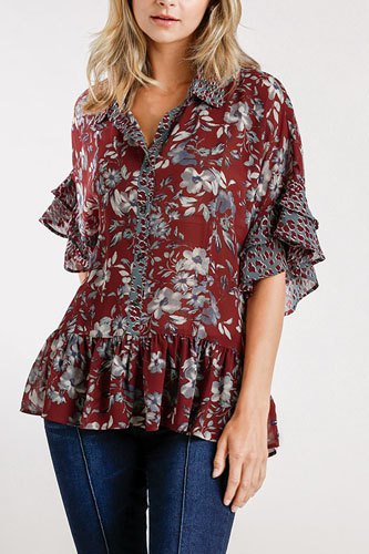 Sheer floral and animal print button front detail top with layered bell sleeves and ruffle hem-id.cc52394
