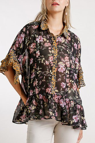 Sheer floral and animal print button front detail top with layered bell sleeves and ruffle hem-id.cc52394b