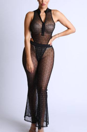 Diamond mesh bodysuit set with flared pants-id.cc52399