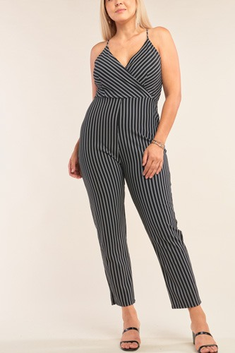 Plus size black & white striped wrap sleeveless criss-cross strap deep plunge v-neck jumpsuit-id.cc52401
