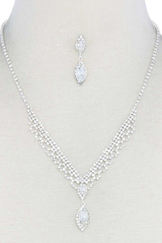 Marquise shape rhinestone necklace-id.cc52421
