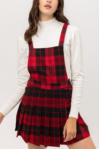 Woven stretch plaid pleated skirtall-id.cc52457