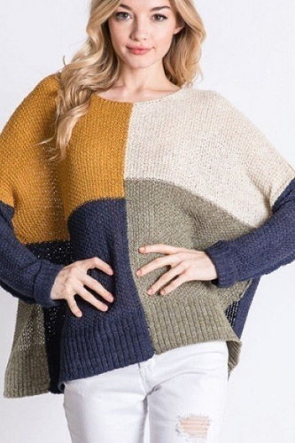 Colorblock cozy thick knit oversize sweater-id.cc52463a