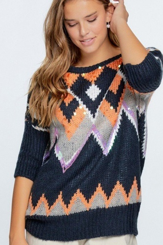 Aztec pattern with glitter accent sweater-id.cc52464a