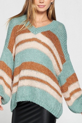 V-neck cozy thick knit stripe pullover sweater-id.cc52465