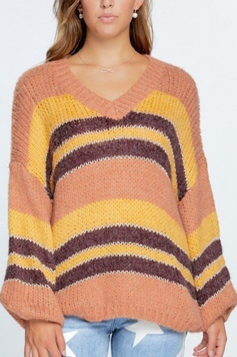 V-neck cozy thick knit stripe pullover sweater-id.cc52465a