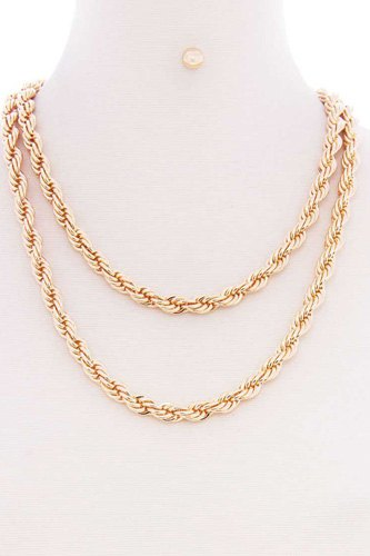 2 layered twist rope chain multi metal necklace earring set-id.cc52507