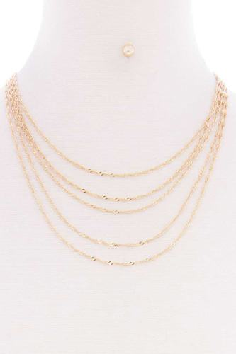 5 layered twist chain multi metal necklace earring set-id.cc52508