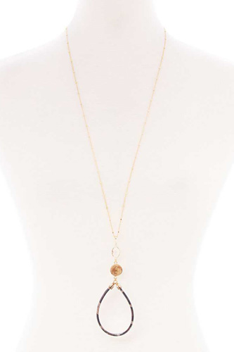 Teardrop pendant long necklace-id.cc52512