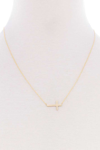 Blb cross dainty metal message necklace-id.cc52514