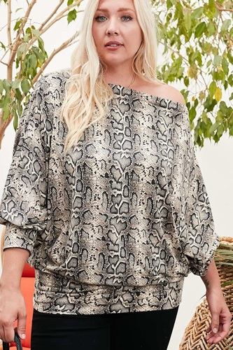 Boat neck long bubble sleeve snake print knit top-id.cc52550