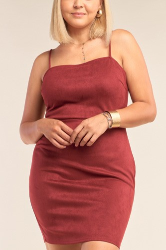 Plus size suede sleeveless fitted square neck mini dress-id.cc52554a