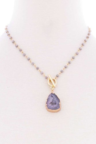 Ball chain natural stone pendant toggle clasp necklace-id.cc52571