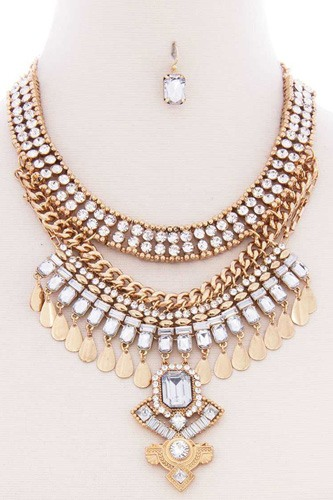 Chunky antique boho bohemian statement necklace earring set-id.cc52572