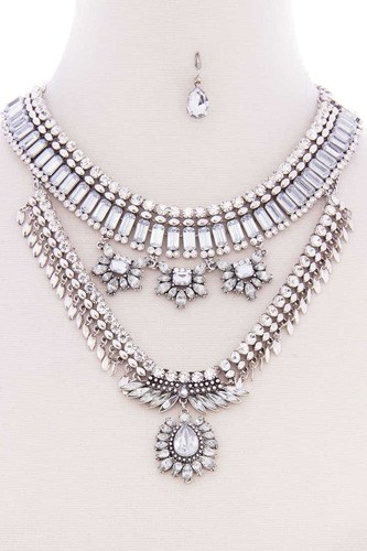 Chunky antique stone boho bohemian statement necklace earring set-id.cc52573