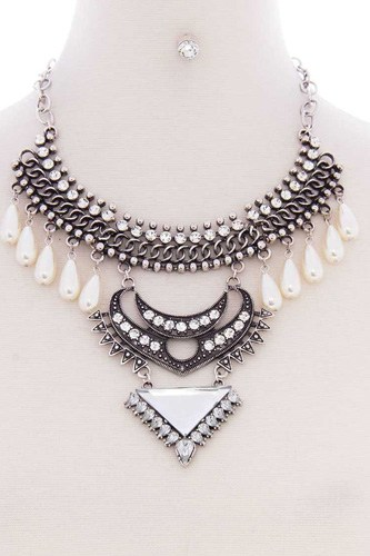 Chunky pearl antique stone boho bohemian statement necklace earring set-id.cc52575
