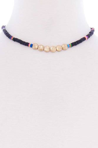 Multi metal round short necklace-id.cc52576