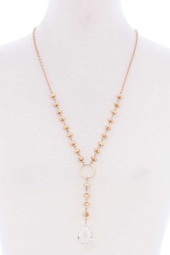 Ball chain y neck clear pendant long necklace-id.cc52577