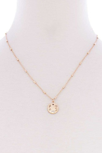 Metal chain star heart lightning moon round pendant necklace-id.cc52578