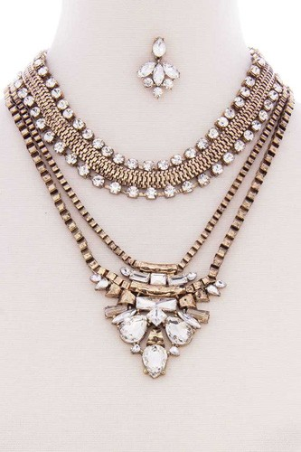 Chunky antique boho bohemian statement necklace earring set-id.cc52580